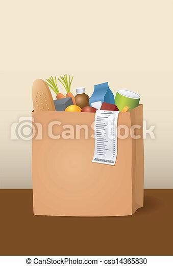bolsa, papel, comestibles - csp14365830