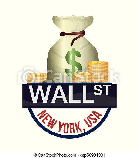 Wall Street New York bolsa dinero moneda - csp56981301