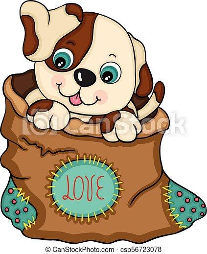 Un perrito dentro de una bolsa de amor - csp56723078