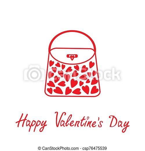 bolsa, valentines, amor, feliz, día, card., hearts. - csp76475539