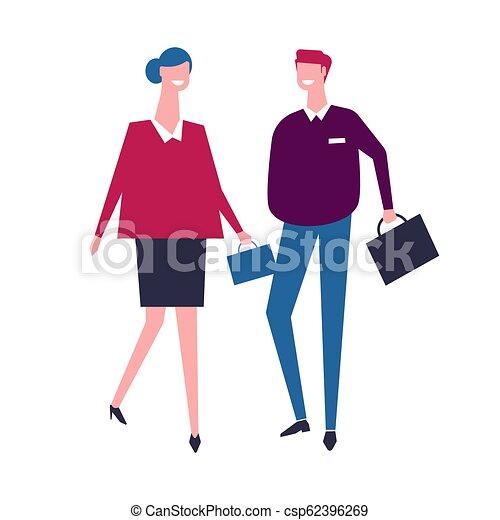 Gente de negocios caminando con bolsas juntas, equipo de trabajadores - csp62396269