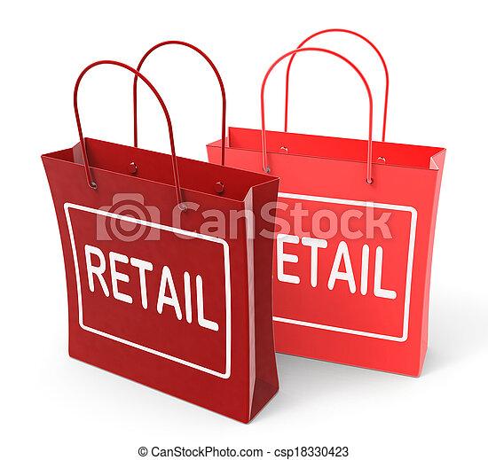 Las bolsas de venta muestran ventas comerciales y comercio - csp18330423