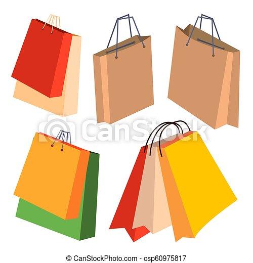 Bolsas de papel marcan vector. con manijas. ilustración de