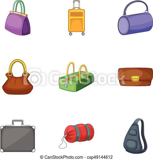 7c948edc2 Bolsas, estilo, maletas, conjunto, iconos, caricatura. Bolsas ...