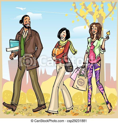 Gente feliz con bolsas de compras - csp29231881