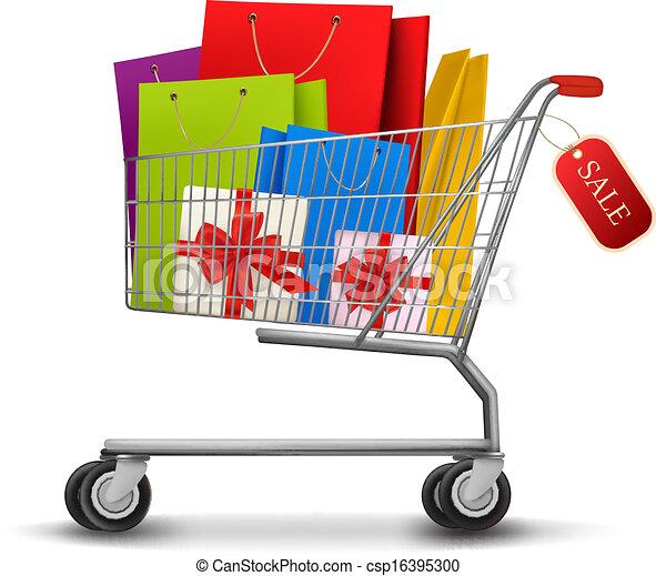 Full Grocery Cart Clipart Bolsas, lleno, ...