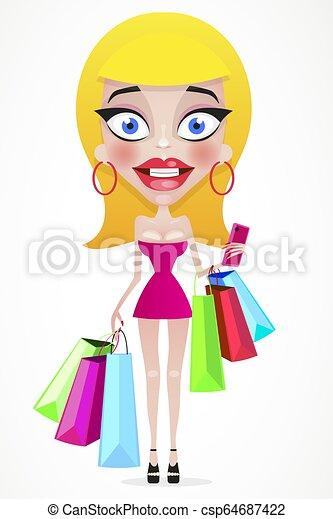 Chica feliz con bolsas de compras en la tienda. - csp64687422