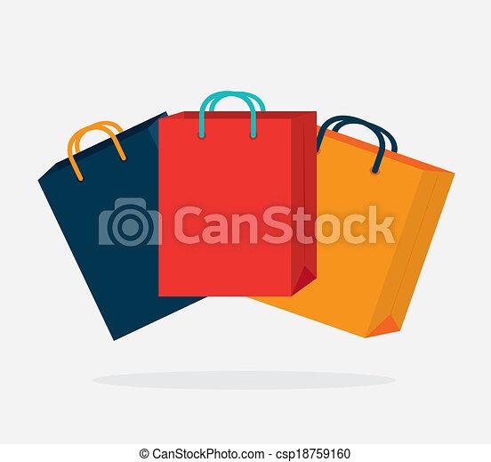 Bolsas Para Compras Desenho Sacolas Shopping Sobre Ilustração