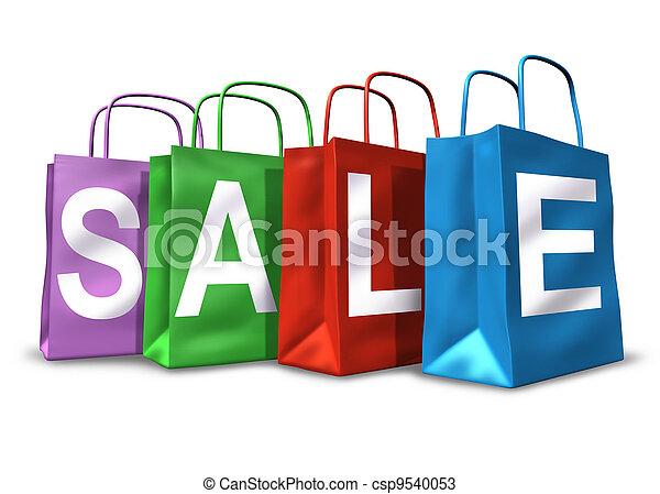 bolsas, símbolo, compras, venta - csp9540053