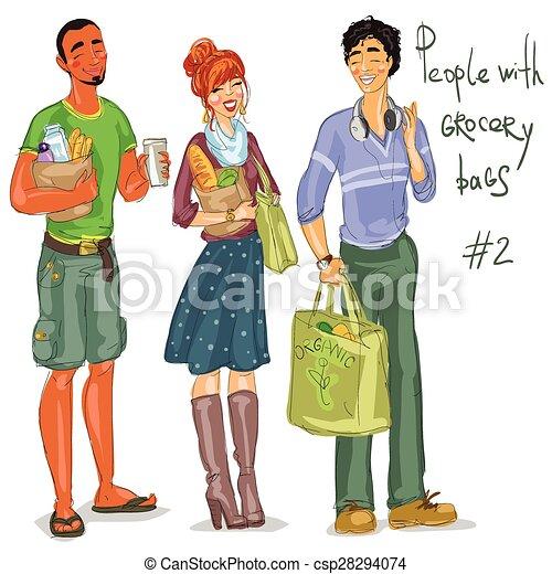 Gente joven con bolsas de comestibles - csp28294074