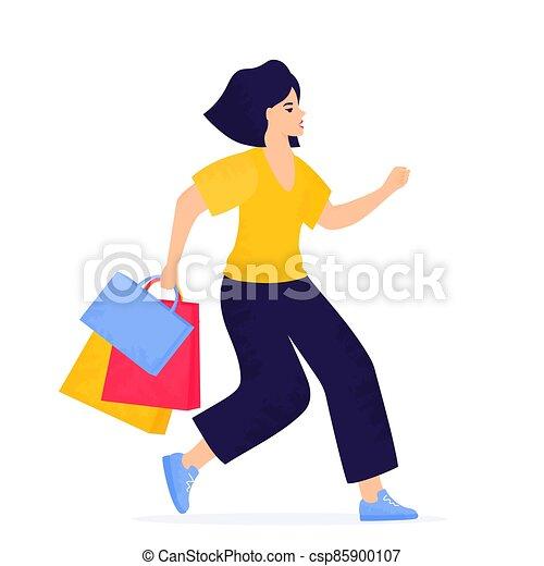 bolsas, viernes, corriente, venta, niña negra, compras, banner. - csp85900107