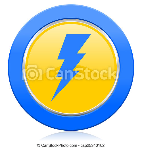 Bolt Blue Yellow Icon Flash Sign