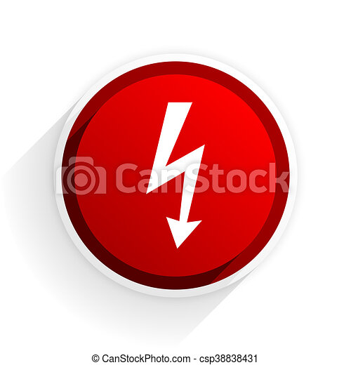 bolt flat icon with shadow on white background, red modern design web element - csp38838431