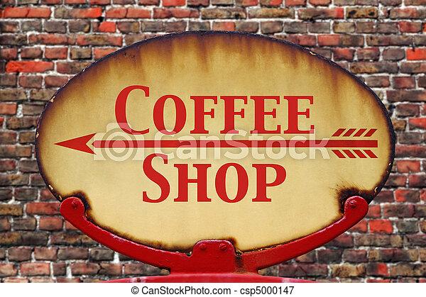 bolt, kávécserje, retro, aláír - csp5000147