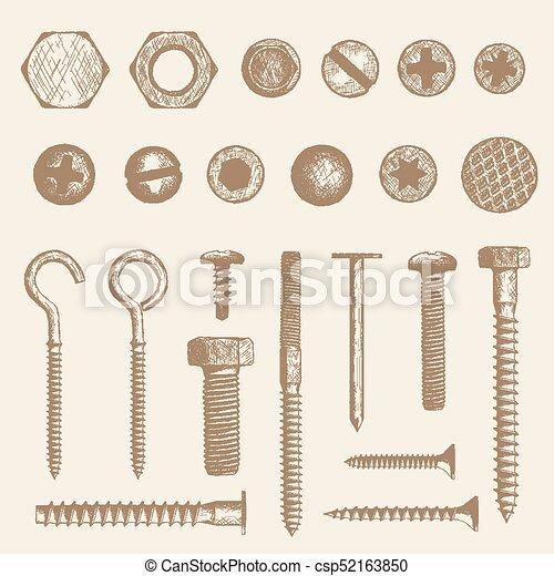 Bolt, screws and nail - csp52163850