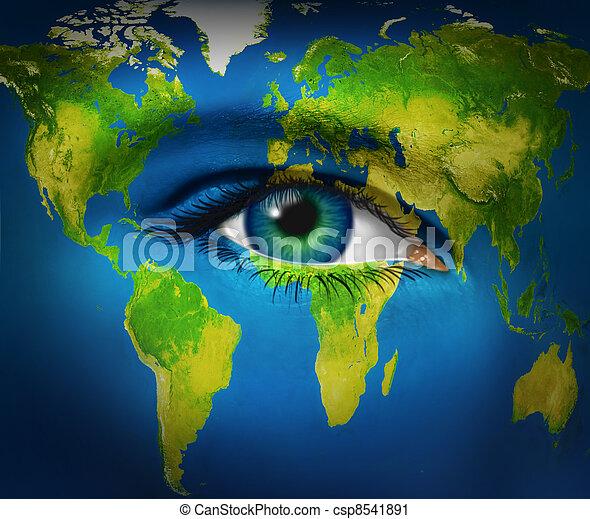 bolygó földdel feltölt, szem, emberi - csp8541891
