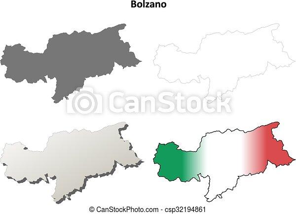 Bolzano blank detailed outline map set - Italian version - csp32194861