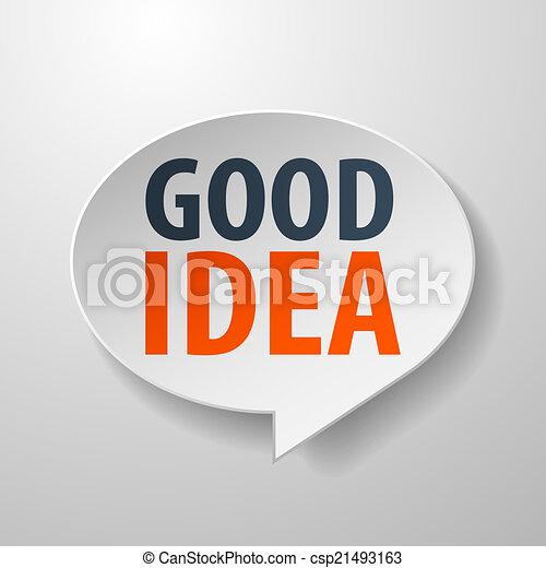 bom, idéia, fala, fundo, branca, bolha, 3d - csp21493163