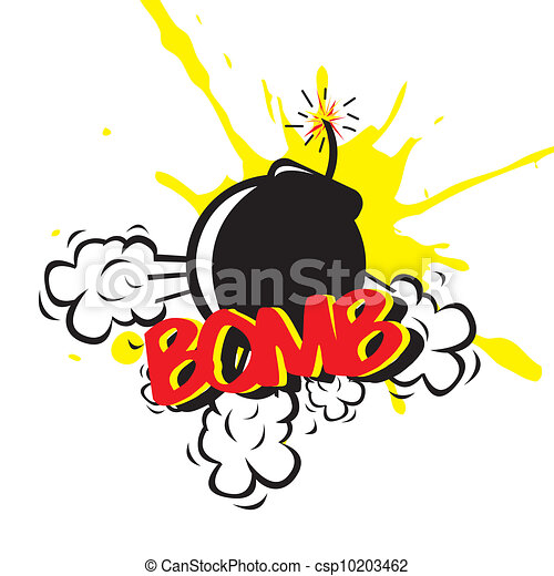 bomb comic over white background vector illustration rh canstockphoto com clip art bomb out cities england clip art bombed homes w11