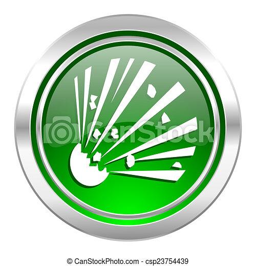 bomb icon, green button - csp23754439