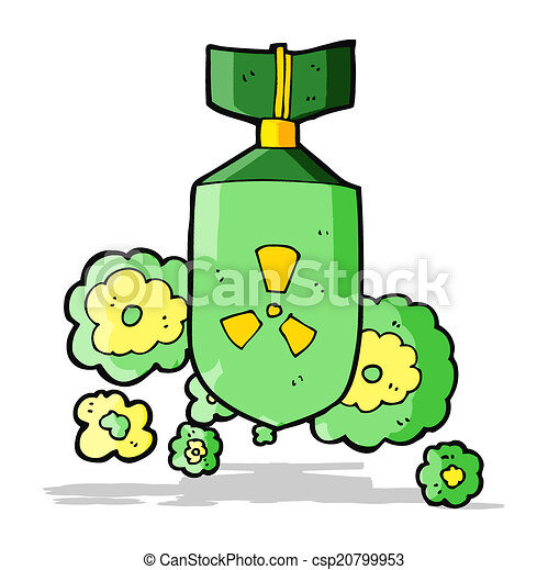 bomba nuclear, caricatura - csp20799953