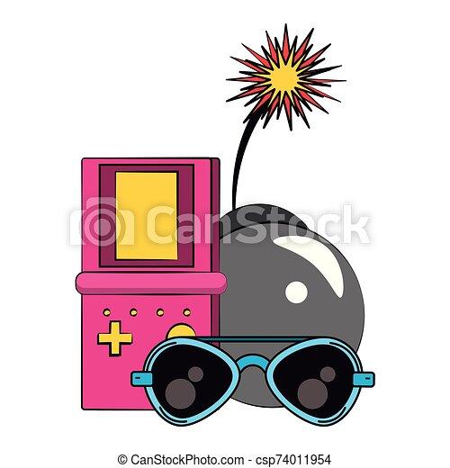 Bomba Videogame Desenho Fusivel Bomba Oculos Queimadura Sobre Vetorial Videogame Branca Retro Ilustracao Fundo