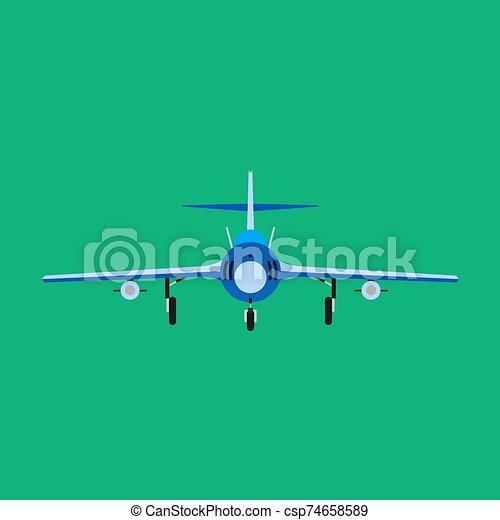 bombardero, avión, militar, vector, luchador, caricatura, icono, supersónico, carlinga, avión, chorro, vista., fuerza, guerra, transport., frente, asalto - csp74658589