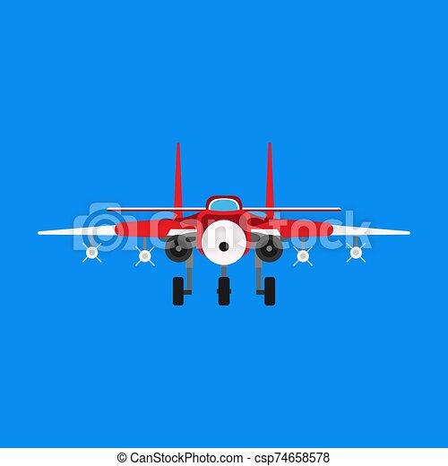 bombardero, avión, militar, vector, luchador, caricatura, icono, supersónico, carlinga, avión, chorro, vista., fuerza, guerra, transport., frente, asalto - csp74658578