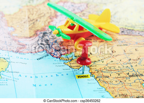 Bombay india map airplane close up of bombay india map with bombay india map airplane csp36450262 gumiabroncs