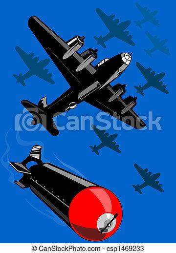 Bomber dropping bombs - csp1469233