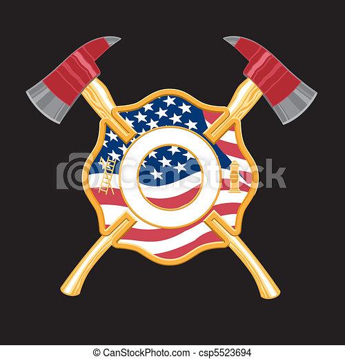 Los bomberos cruzan con hachas - csp5523694