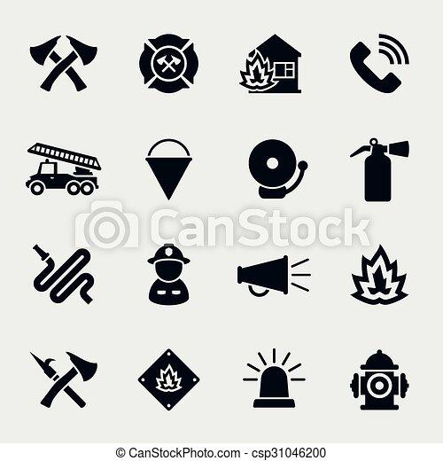 Los iconos de los bomberos - csp31046200