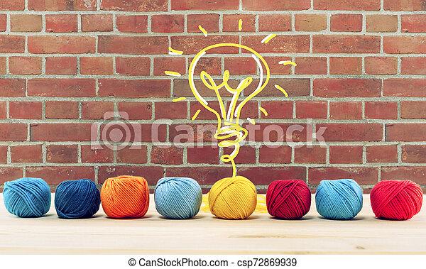 Concepto de idea e innovación con bola de lana que da forma a una bombilla - csp72869939