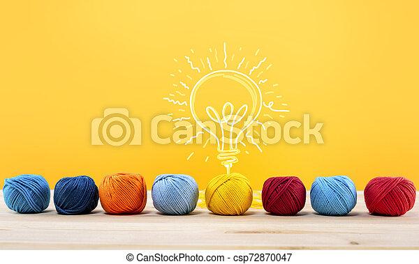 Concepto de idea e innovación con bola de lana que da forma a una bombilla - csp72870047