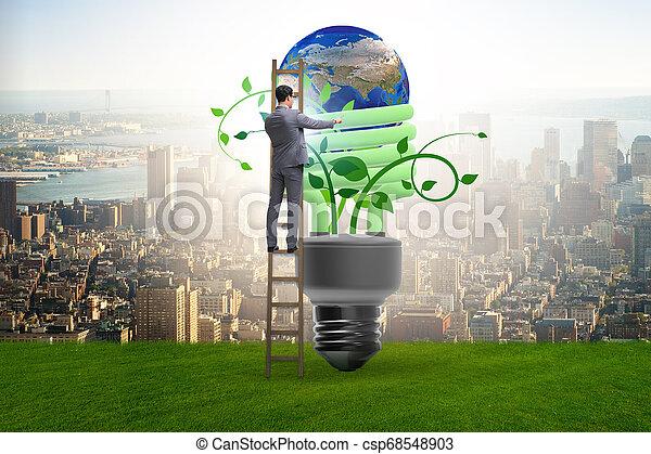 Concepto la eficiencia de energía con bombilla - csp68548903