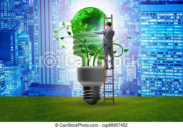 Concepto la eficiencia de energía con bombilla - csp68907452