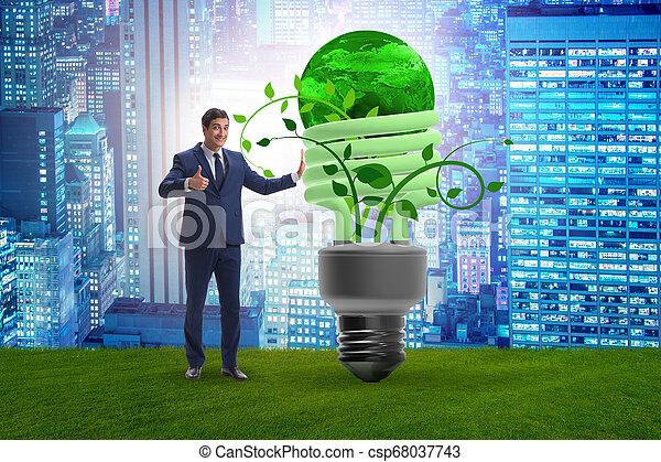 Concepto la eficiencia de energía con bombilla - csp68037743