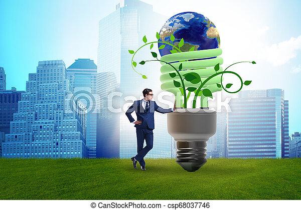 Concepto la eficiencia de energía con bombilla - csp68037746