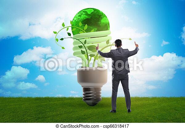 Concepto la eficiencia de energía con bombilla - csp66318417