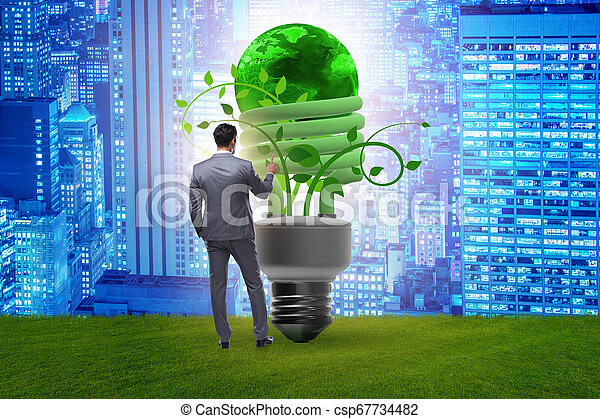 Concepto la eficiencia de energía con bombilla - csp67734482