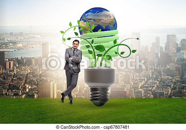 Concepto la eficiencia de energía con bombilla - csp67807481