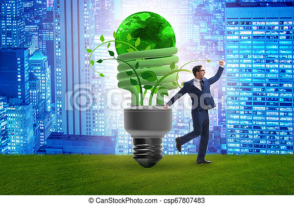 Concepto la eficiencia de energía con bombilla - csp67807483