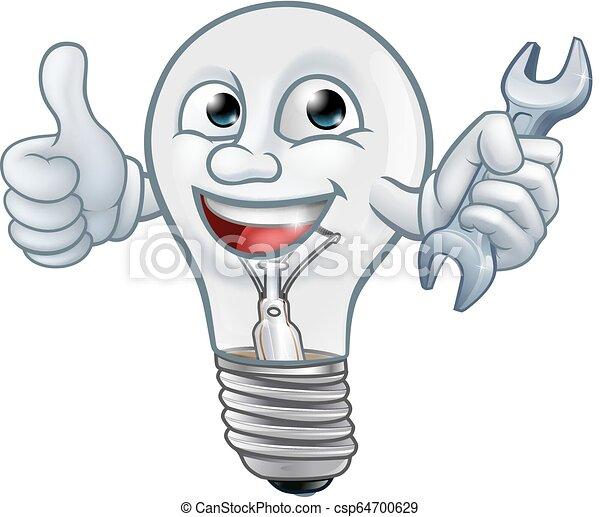 La mascota bombilla de dibujos animados - csp64700629