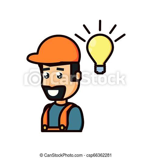 Trabajador de construcción con bombilla - csp66362281