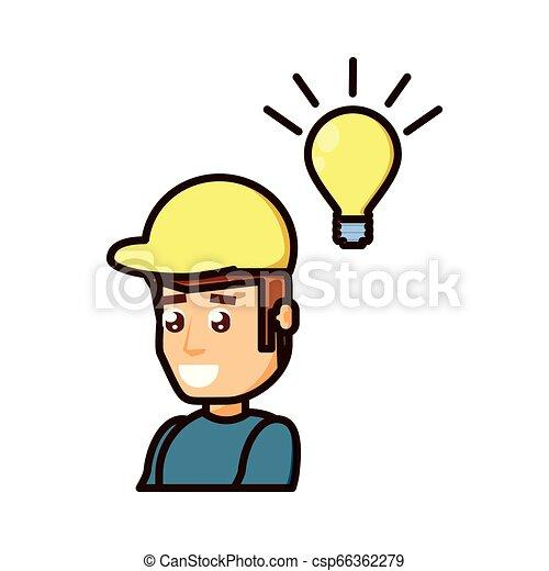Trabajador de construcción con bombilla - csp66362279