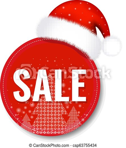 boné, claus, tag venda, santa, natal - csp63755434