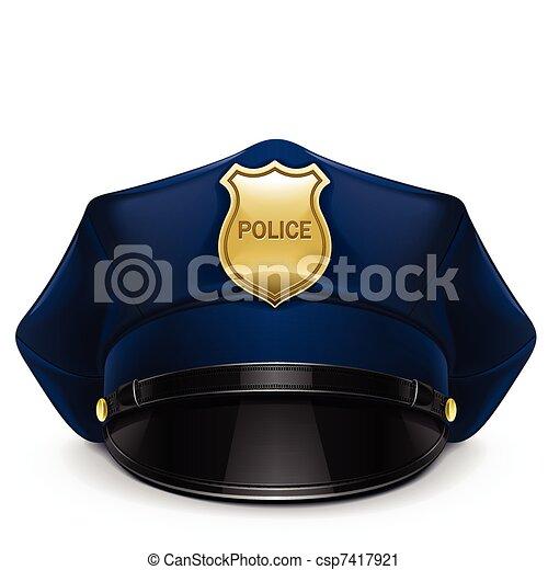 boné peaked, polícia, cockade - csp7417921