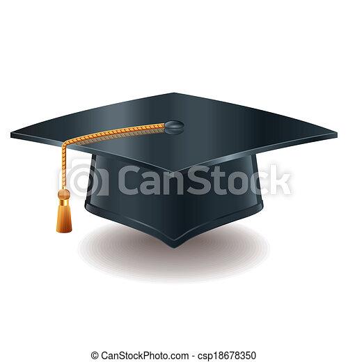 boné, vetorial, graduação, ilustração - csp18678350