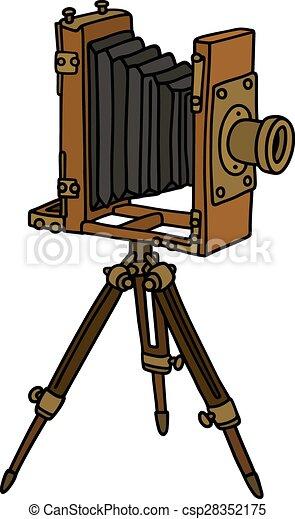 bon appareil photo photographique vrai vendange main illustration vecteurs. Black Bedroom Furniture Sets. Home Design Ideas
