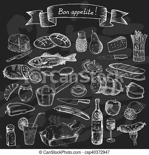 Bon appetite food set food set for design menu vintage for Art and appetite american painting culture and cuisine